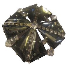 Gray slanted triangle glass rhinestone, clear shiny rhinestone brooch