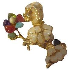 Vintage Swoboda Poodle brooch, 8 different gemstones.