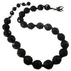 Vintage Black mourning faceted necklace, bird closure