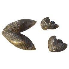 Vintage Ledo Art Deco style Brooch/earrings