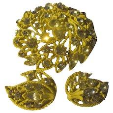 Vintage heavy yellow enamel, brooch/earrings