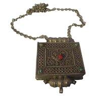 Vintage large pendant/box, w/turquoise, coral gemstones
