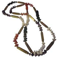 Vintage long gemstone, brass necklace, quartz, bloodstone, amethyst, carnelian