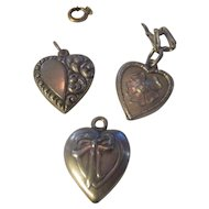 Three Vintage Sterling puffy charms