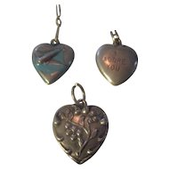 Three sterling Puffy heart charms, vintage/victorian