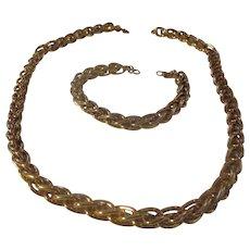 Matching MONET set, gold tone, hefty bracelet/necklace