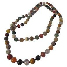"""Unique triple knot, mulit gemstone 36"""" necklace"""