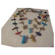 Vintage Heishi, gemstone fetish necklace/three strand.