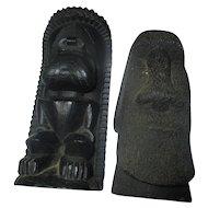 Vintage CoCo Joe's  carved Lava Moai's statues