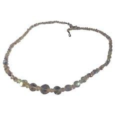 Vintage bright shiny AB crystal necklace