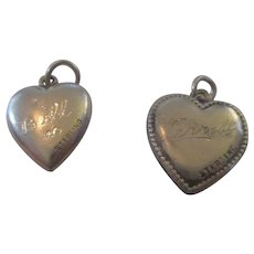 Pair of Sterling Puffy Charms,