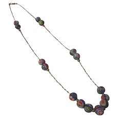 Millefiori bead/14k yellow gold necklace
