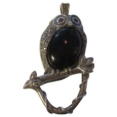 Sterling,Marcasite, Ruby, Onyx Owl Pendant/brooch