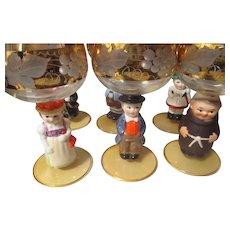 Vintage 1970's x6 Goebel ceramic wine glasses.  W. Germany