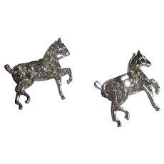 Vintage Pair Trifari with crown, Prancing horse's