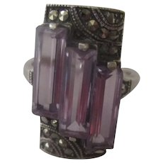 Art Deco Sterling, Marcasites, Amethyst ring