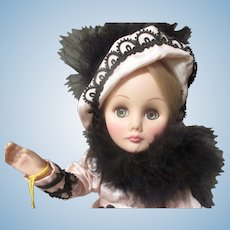 Collectable Effanbee Doll Feather Hat,  and cape.