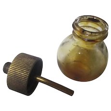 Early Lunkenheimer Engine drip oiler, glass bottle