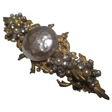 Early Miriam Haskell large faux pearl brooch