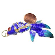 Large blue, turquoise, Movable fish pendant