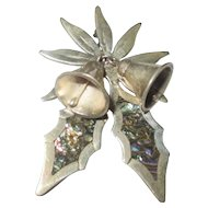 Vintage Sterling silver holly, and poinsettia with bells brooch