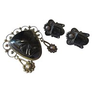 Early Aztec black onyx set, 1920's-40's
