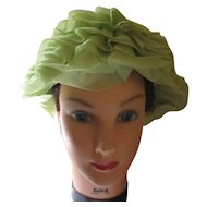 Vintage 1950's Original hat by Dayne unique lime green silk.