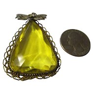 Vintage Czech Bohemian large inverted Triangular shaped pendant