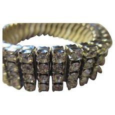 Four rows of bright shiny rhinestone expandable bracelet