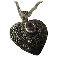 Sterling silver marcasite, amethyst heart shape necklace Italy