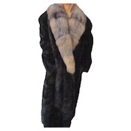 Luxuriously dark brown Mink, long fox lustrous fur Collar, Greece fur