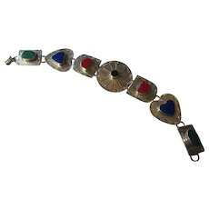 Beautiful multi color semi precious stone sterling bracelet Mexico