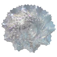 Dugan & Diamond Glass Co,  1909 - 1931, vintage White Carnival Ruffled and Saw Tooth Edged 8.5 in Bowl - Roundup