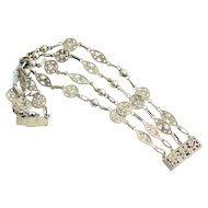 925 Sterling Silver, 4 Link Filagree Bracelet