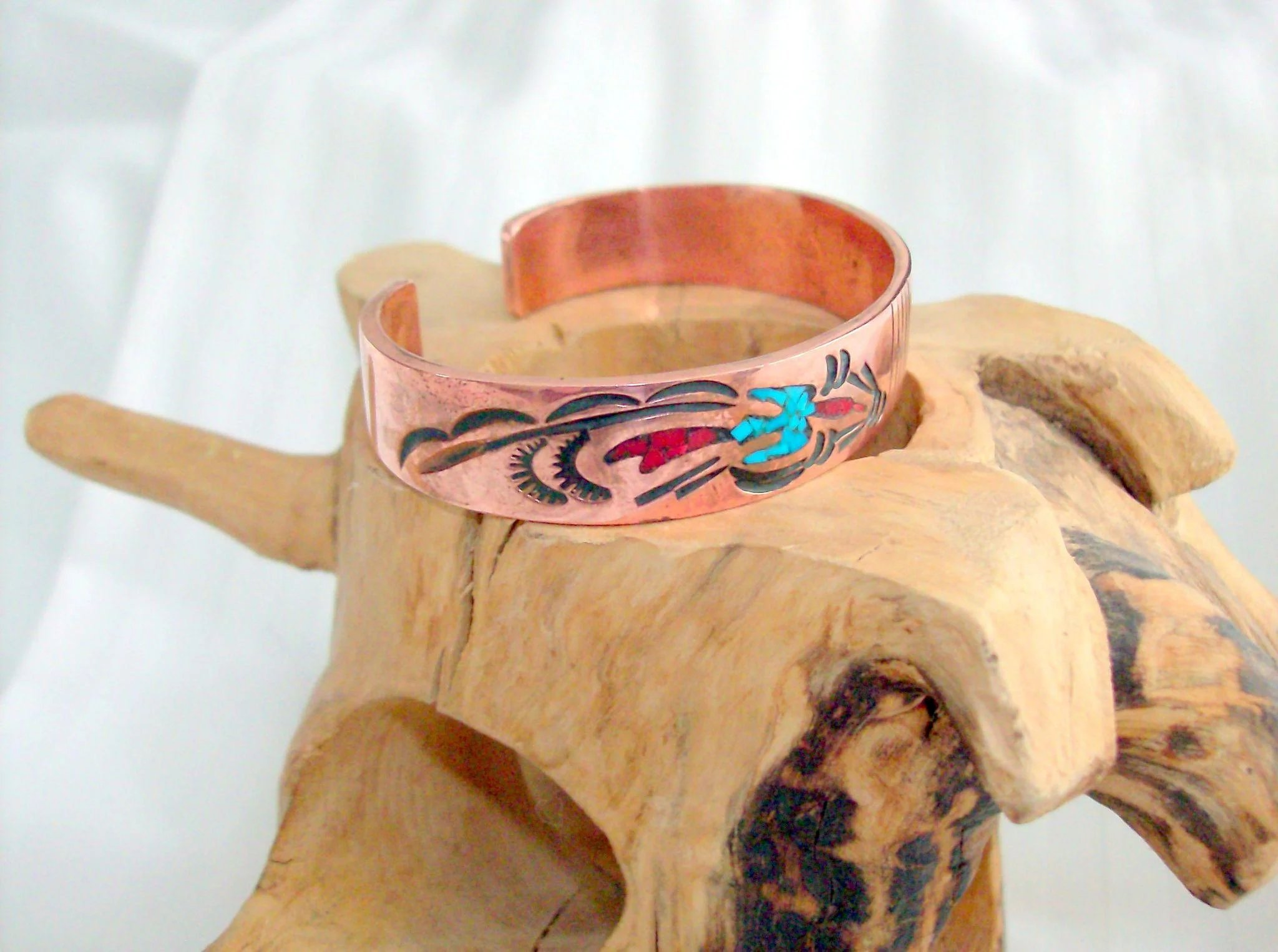 Navajo Signed Coral Amp Turquoise Copper Cuff Ravens View Jewelry Ruby Lane