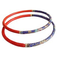 Cloisonne & Cinnabar Bangle Bracelets