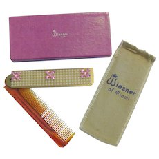 Folding comb Signed Wiesner of Miami With Original Sheath & Box
