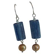 Natural Kyanite & Cultured Freshwater Pearl Sterling Silver Earrings