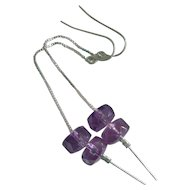 Gem Grade Amethyst & Sterling Silver Duster Earrings