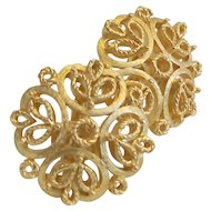 Crown Trifari Signed Filigree Gold Tone Earrings