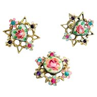 Guilloche & Rhinestone Earrings & Pin Set