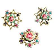 Guilloche & Rhinestone Earrings & Pin Set