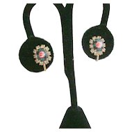 Hand Painted Cabachons & Rhinestone Earrings