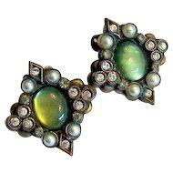 Early Sorrelli Green Cabochon Simulated Pearl Earrings