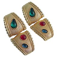 Early Swarovski Earrings With Jewel Tone Cabs