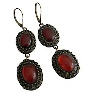 Signed Nancy & Rise Cabochon & Bronze Earrings
