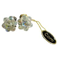 Coro Austrian Beaded Earrings With Original Tag