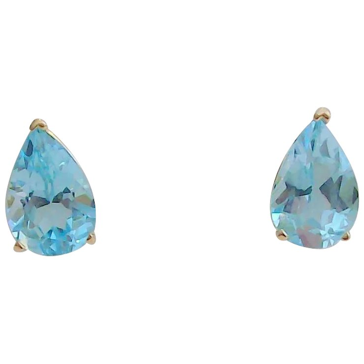 Swiss Blue Topaz Earrings In 14kt