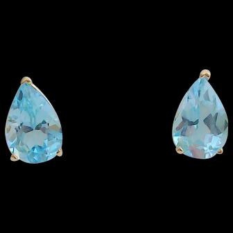 Swiss Blue Topaz Earrings in 14kt