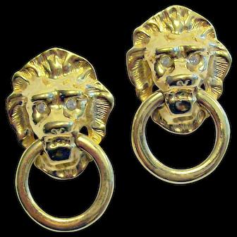 Kenneth Jay Lane Lion Doorknocker Earrings with Rhinestones Signed